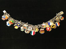"VTG World Traveler 39 Shields 7"" STERLING CHARM BRACELET Silver & Enamel"