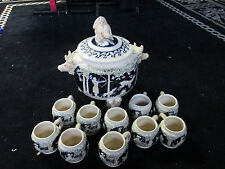 West Germany Rare 1954 Punch Bowl/Soup Tureen w/10 Matching Mugs-Hunting Scene