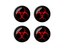 Biohazard Warning Symbol - Wheel Center Cap 3D Domed Set of 4 Stickers