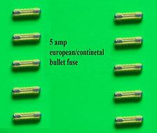 5 amp EUROPEAN CONTINENTAL BULLET YELLOW FUSES QTY 10  TAXI CAR HGV VAN TRUCK