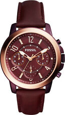 NEW! Fossil Women's Gwynn Chronograph Burgundy Wine Leather Watch ES4116