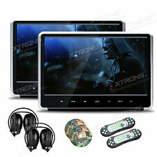 """1Pair HDMI 11.6"""" Car Active Headrest Monitor DVD Players Slim +IR Game Headsets"""