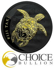 2011 Fiji 1 oz Silver Taku Turtle Hawksbill Black Ruthenium Gold Coin