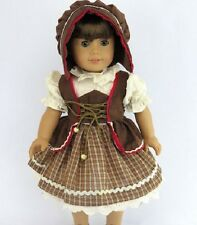 "Brown Traditional German Style Dress Bonnet Fits 18"" AMERICAN GIRL DOLL CLOTHES"