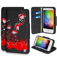 HTC Desire 510 - Diary Wallet w/ card slots & billfold - Red Heart Flowers