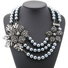 ZARA GORGEOUS 3 ROWS GREY PEARLS FLOWERS STATEMENT NECKLACE - NEW