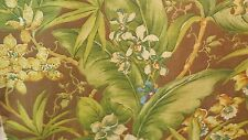 BROWN TROPICAL FLORAL AND LEAF  BLUE GREEN AND ORANGE DRAPERY UPHOLSTERY FABRIC