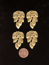 4 Vintage Russian Gold Plate Miriam Haskell Pierced Leaf Charms 36mm HS12