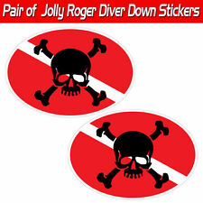 Jolly Roger scuba decal diver down skull and Crossbones graphic sticker pirate