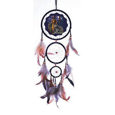 "DREAM CATCHER WOLF WALL HANGING ORNAMENT WITH FEATHERS 20"" LONG FREE SHIPPING"
