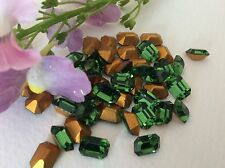 Swarovski #4500 Vintage Rhinestone Octagon 7x5mm Green Turmeline Pack 15 CRAFT