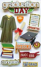 PAPER HOUSE 3-D GLITTER STICKERS - GOWN HAT GRAD GRADUATE - GRADUATION DAY