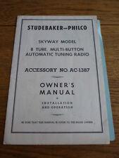 STUDEBAKER PHILCO Skyway Radio Proprietari Manuale