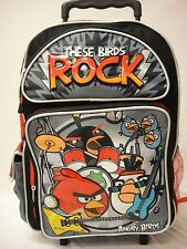 "Angry Birds 16"" inches Rolling Backpack - BRAND NEW - Licensed These Birds Rock"