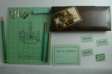 LOT PLUMIER 2 ECOLE SCOLAIRE ANCIEN CAHIER PORTE PLUME BON POINT CRAYON SCHOOL