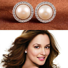 Fashion Lady Elegant 925 Silver Plated Crystal Rhinestone Pearl Ear Stud Earring