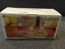 CRYSTAL PERFUME SET 3 BOTTLES AND TRAY WITH STOPPERS CELEBRATIONS 4 Pieces