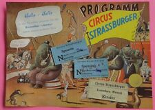 RARE VTG 1950' PROGRAM & 3 TICKETS CIRCUS STRASSBURGER  - GERMAN CIRQUE  CIRCO