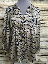 JOY JOY Size Medium Peasant Women's Zebra Blouse V-Neck Top Casual Work Safari