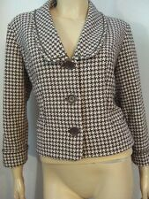 MSSP MAX STUDIO SPECIALTY PRODUCTS Brown White Knit Houndstooth Crop Jacket 12