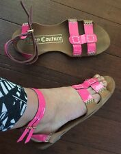 ��Sexy $200 Juice Couture Leather Pink Beige Flats 39 Or 8 + Mimco Dust Bag