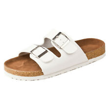 New cork flats sandals summer unisex casual slippers shoes size 5 White C7I6