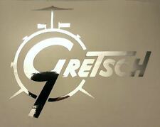 Gretsch USA Custom Drum Die Cut Logo Stick on CHROME Decal 6 INCHES wide