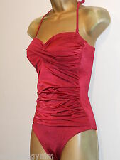 LADIES RED TU RUCHED HALTERNECK STRAPLESS SWIMSUIT SIZE 8 NEW PADDED CONTROL