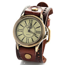Women's Wide Strap Brown Leather Belt Bracelet Watch Roman Numbers Wristwatch UK