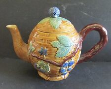 Vintage Majolica Style Blackberry Blackberries Basket Weave Tea Pot Noveau?