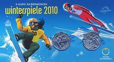Österreich 2x 5 Euro 2010 Silber Winterspiele hgh im Blister