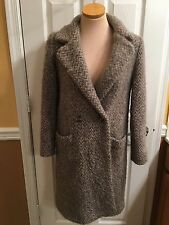 Ice Knit Icelandic Nordic Grey White Pure Wool Cape Stroller Coat Size Small