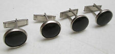 Vintage Cufflinks Lot of 2 Black Onyx Round Button Silver Tone Unsigned