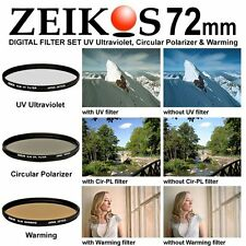 72mm Multi-Coated 3 Piece Lens Filter Kit Set UV CPL FLD 72 mm ZE-FLKS72 MC Slim