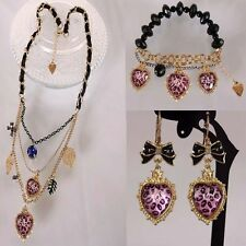 NEW Betsey Johnson Fashion leopard peach pearl necklace bracelet earrings!
