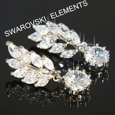SALE  Leaves 18K White Gold Plated Earring use Swarovski Crystal Wedding E417