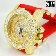 Men Luxury Hip Hop Iced Out Gold Finished CZ Rapper's Red Silicone Band Watch