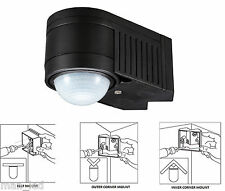 Black PIR 360° Motion Sensor Detector Outdoor NEW IP44 Certified 3 in 1 Mount