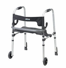 Drive Medical 10233 Clever Lite LS Walker Rollator with Seat and Push Down Brake