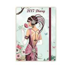 2017 Diary Beautiful Lady Flower Claire Coxon Art Deco Hard Back Diary Journal