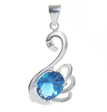 Chic Swan Jewelry 925 Silver Crystal Aquamarine&topaz Pendant Fit Necklace Chain
