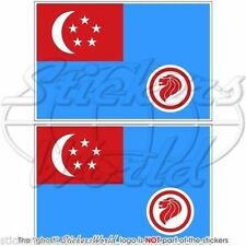 """SINGAPORE AirForce RSAF '90-Present Flag Bumper, Decals Stickers 3"""" (75mm) x2"""