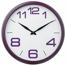 New Round Wall Clock Purple White Time Retro Design Child Bedroom Kitchen Home