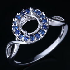 Sterling Silver 925 Round Semi Mount Sapphires Unique Engagement Party Fine Ring