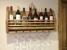 SHABBY CHIC WAX FINISHED WOODEN ~ WINE RACK HOLDER ~ WALL MOUNTED - HAND MADE