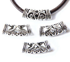 5X Tibetan Silver Hollow Carved Art Tube Spacer Beads Finding 2.5cm