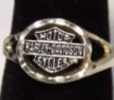 "Ladies 10K White Gold Size 6.5 ""Harley Davidson Motor Cycles"" Ring  --416"