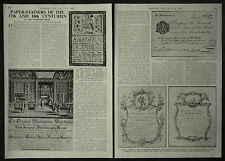 17th & 18th C. Paper Stainers Wallpaper Hangers Trade Card 1949 3 Page Article