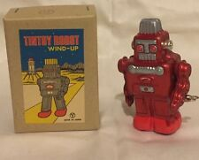Vintage Japan Antique Tin Toy Robot Sanko Seisakusho Wind up Red Unused Mint