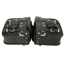 2 X New Stylish Leather Motorcycle Motorbike Saddlebags Side Bags Pouch Black
